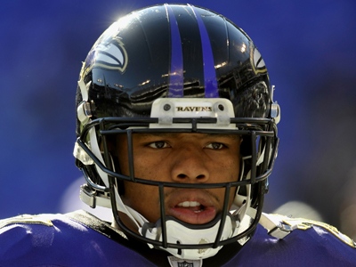 Baltimore Ravens running back Ray Rice warms up before an NFL football game against the Cleveland Browns in Baltimore, Saturday, Dec. 24, 2011. (AP Photo/Gail Burton)
